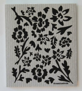 Three Bluebirds Black Flora on Grey Swedish Dishcloth